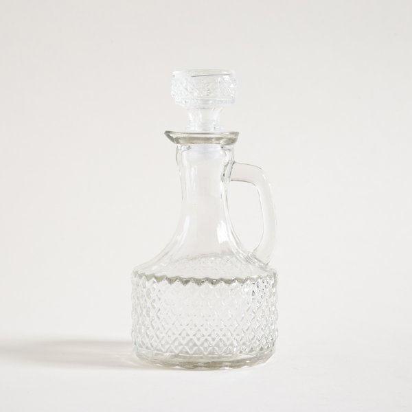 Aceitera vidrio vintage con manija 18.5cm