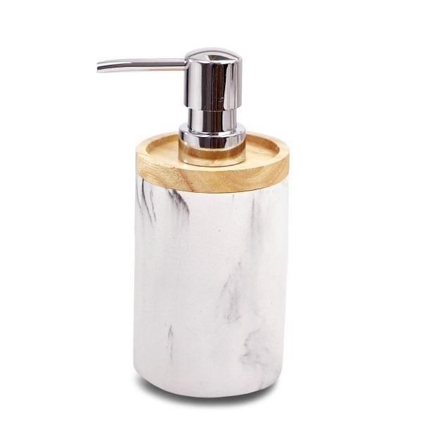 Dispenser cilíndrico de mármol y madera blanco