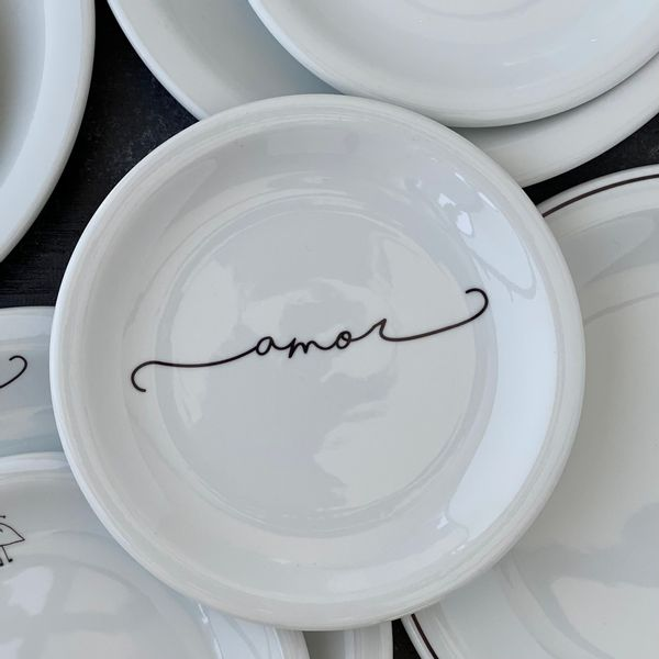 Plato de postre de porcelena Amor