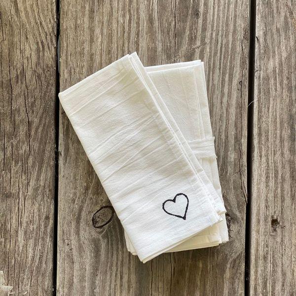 Servilleta de gasa corazón color Blanco x 4