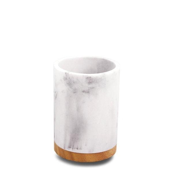 Vaso de mármol y madera cilíndrico blanco