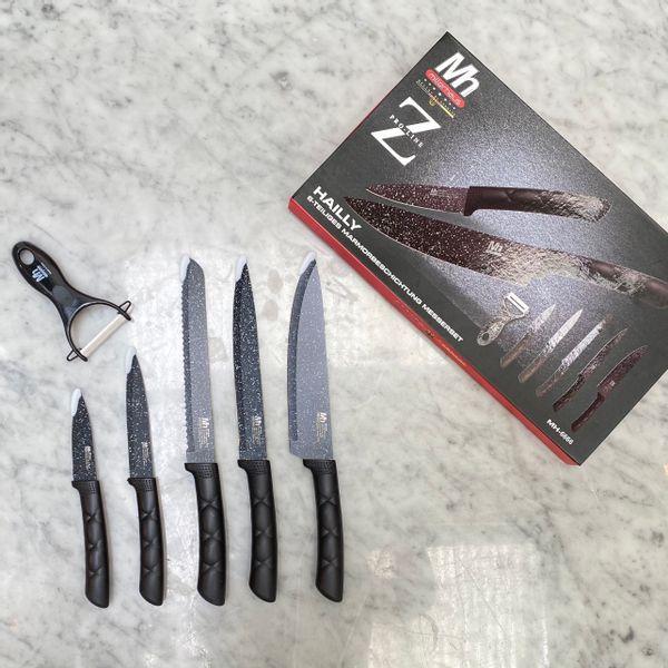 Set de 5 cuchillos jaspeados y pelapapa