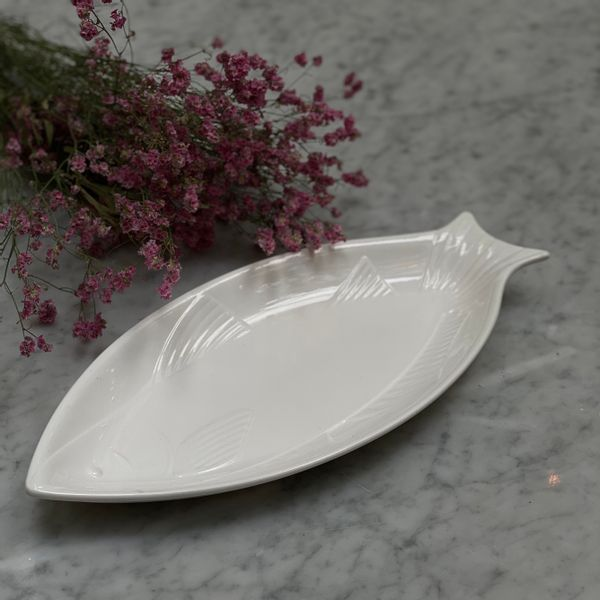 Fuente de cerámica forma pez 44 x 20 cm