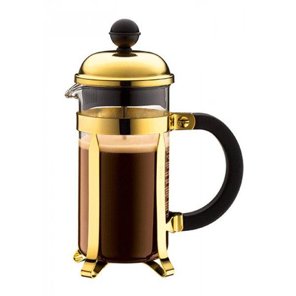 Cafetera Chambord 3 pocillos dorada