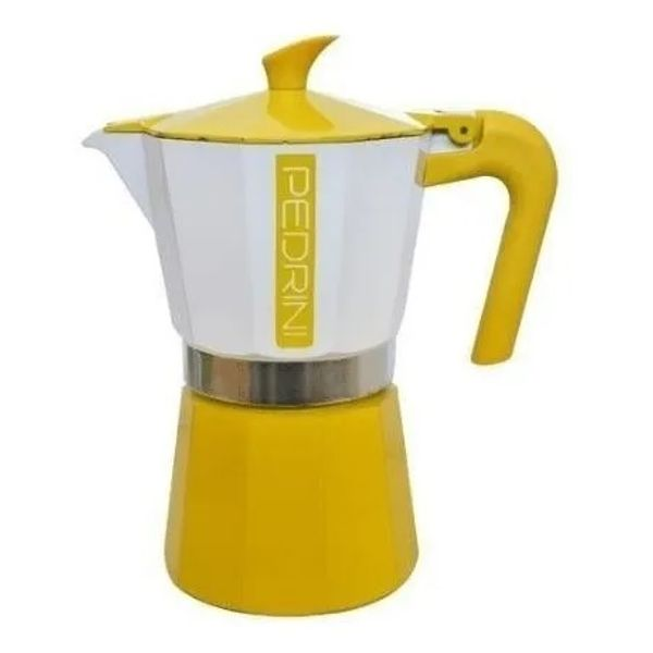 Cafetera express Pedrini Vintage 6 tazas amarillo