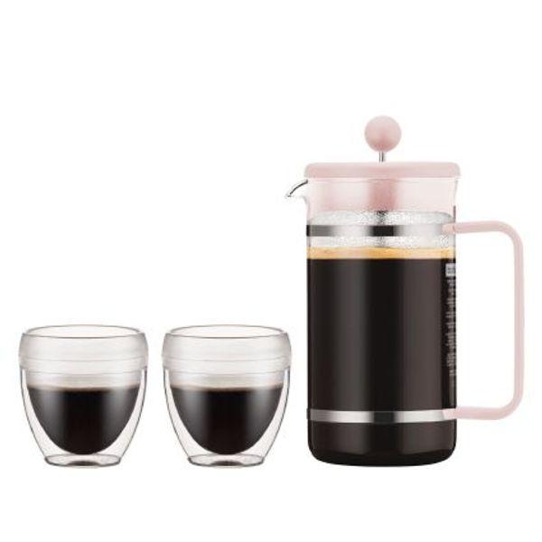 Set cafetera Bodum Bistro 8 piezas y dos vasos de 250 ml rosa