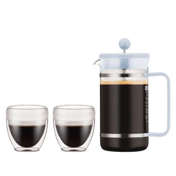 Set cafetera Bodum Bistro 8 piezas y dos vasos de 250 ml celeste