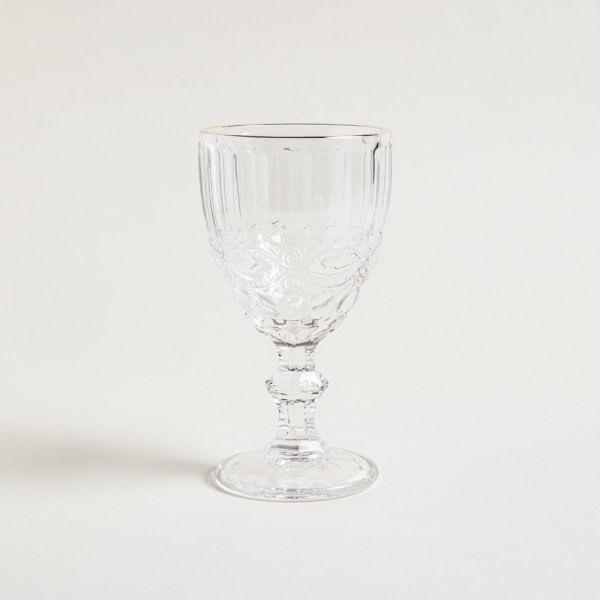 Copa de vidrio transparente borde dorado king 17 x 9 cm