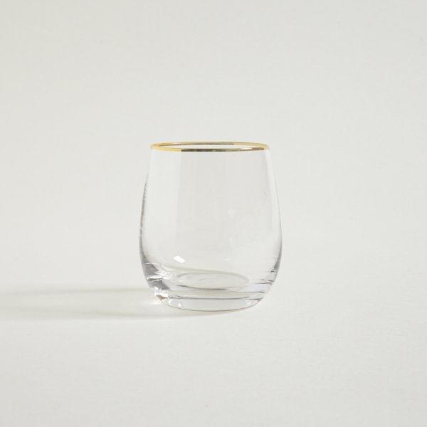 Vaso bombé bajo borde dorado 400 ml