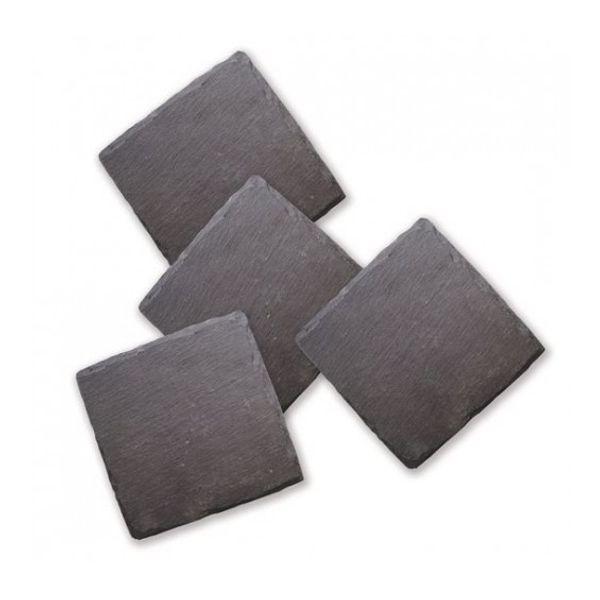 Posa vasos cuadrados de laja  negra - Set x 4