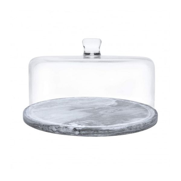 Plato posa torta de mármol carrara con campana de vidrio recto