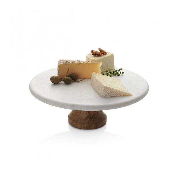 Pie de torta de mármol y acacia 24 cm