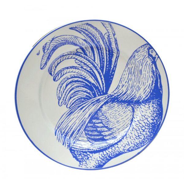 Plato postre enlozado gallo 20 cm
