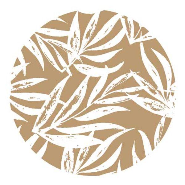 Individual redondo Laurel blanco con fondo color Habano