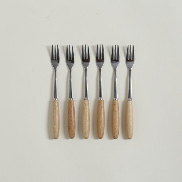 Tenedores de acero mango madera set x 6