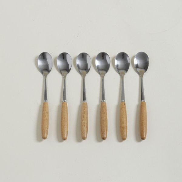 Cucharas de acero mango madera set x 6