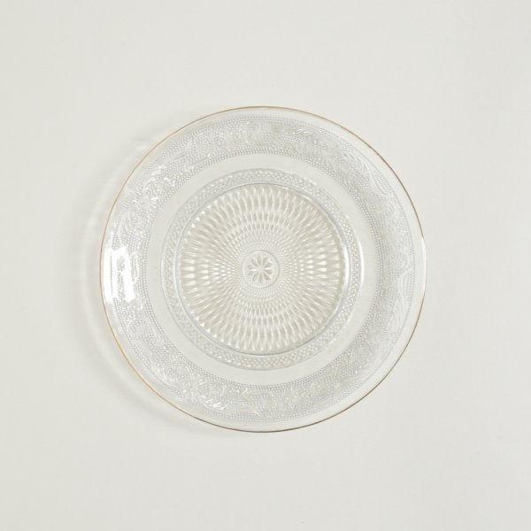 Pie de torta de vidrio y borde dorado 20 cm
