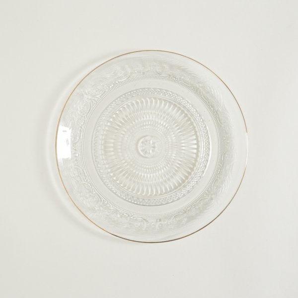 Pie de torta de vidrio y borde dorado 25 cm